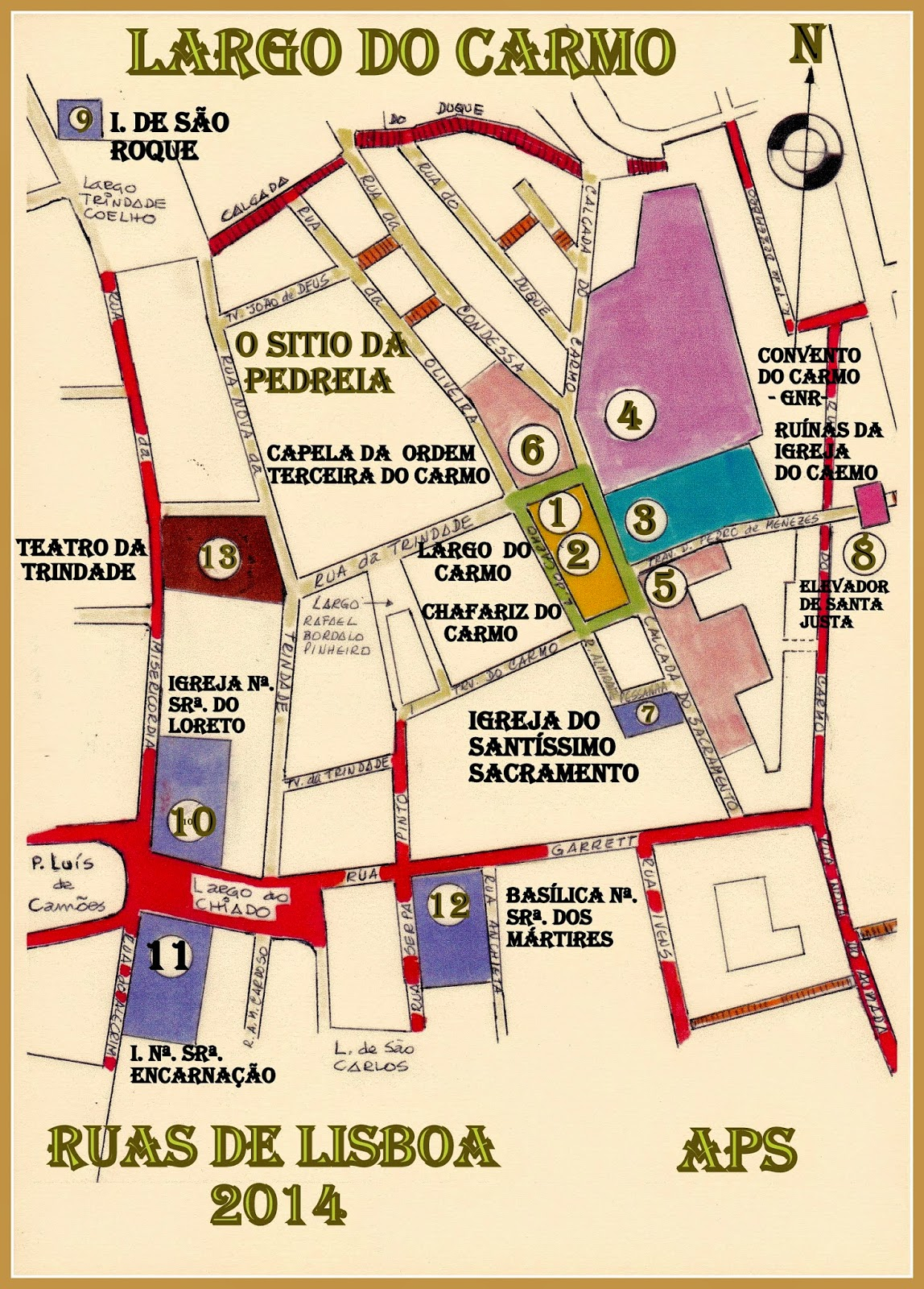 largo do carmo mapa RUAS DE LISBOA ALGUMA HISTÓRIA: LARGO DO CARMO [ I ] largo do carmo mapa