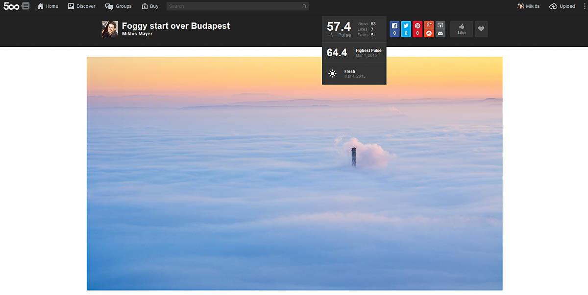 500px egyedi fotó képernyőképe