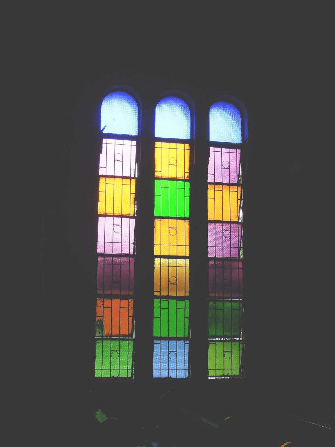 Stained glass window of a church
