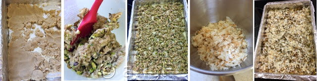 Crust - Nut Streusel texture - Nut Streusel on crust - Crumbled Phyllo - Phyllo Crumbs over top