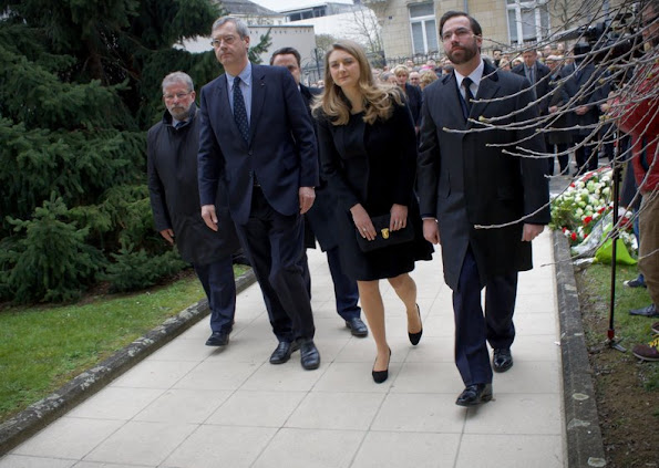 Hereditary Grand Duke Guillaume of Luxembourg and Hereditary Grand Duchess Stéphanie of Luxembourg attended the moment of silence at the Belgian Embassy. jewelery, diamond earring, diamond rings, baracelet, newmyroyals, new myroyals, new my royals