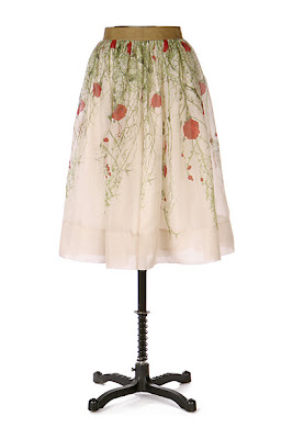 Anthropologie Rose Organza Skirt