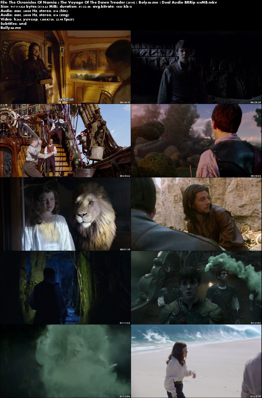 The Chronicles Of Narnia The Voyage Of The Dawn Treader 2010 BRRip 850MB Dual Audio 720p Download