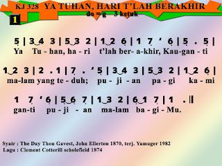 Lirik dan Not Kidung Jemaat 328 Ya Tuhan, Hari T'lah Berakhir