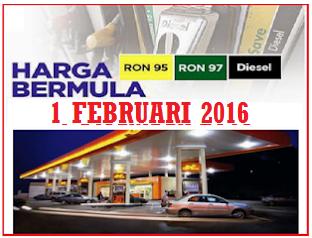 Harga Minyak Petrol dan Diesel Februari 2016