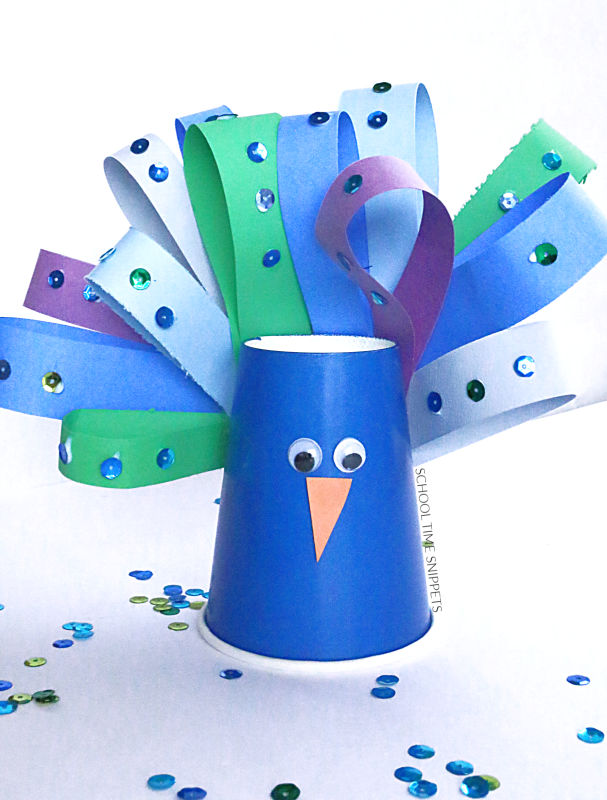 peacock paper cup craft