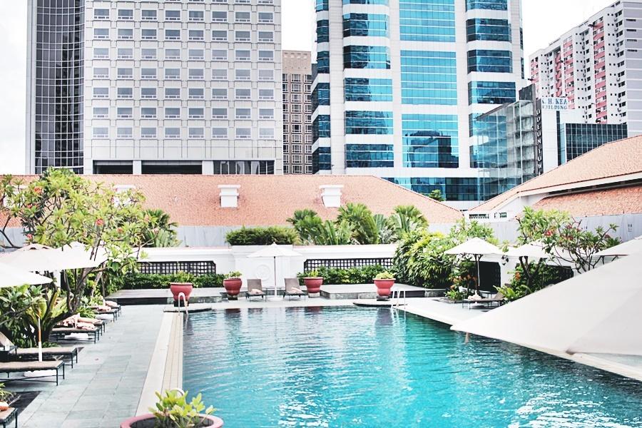 pool hotel skyline