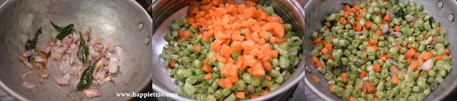 Step 1 - Carrot Beans Poriyal | Carrot Beans Stir Fry