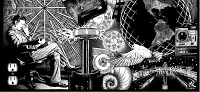 Nikola Tesla seen here photographed with the inventions that he created by researching and developing by himself.