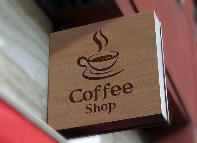 Coffee on wooden board