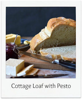 The Cottage Loaf is a British classic.  The dough is shaped with one ball positioned ontop of the other and is baked in a hot & steamy oven to create a wonderful crust.  This Cottage Loaf  recipe with added Pesto contains the delicious flavours and aromas of pesto making it perfect for cheese sandwiches, or even served with a tomato soup, for instance.