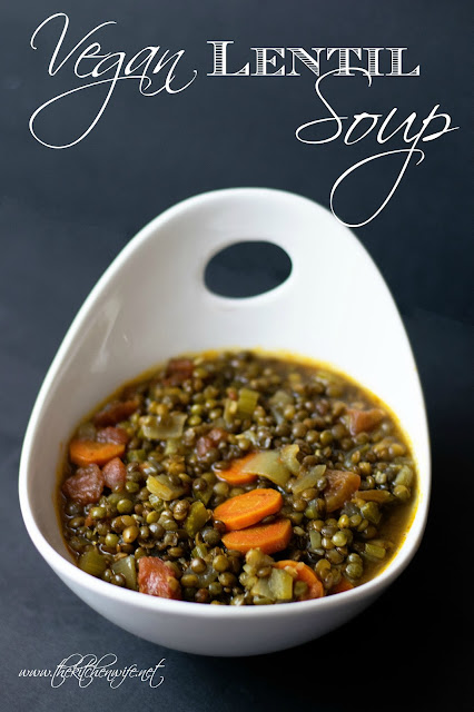 The finished bowl of lentil soup with the title at the top.