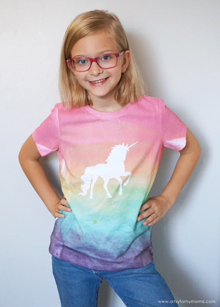 DIY Unicorn Shirt made with vinyl and fabric spray paint!