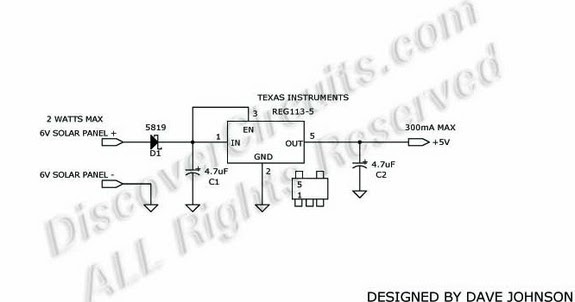 circuit schematic solar powered cell phone charger using