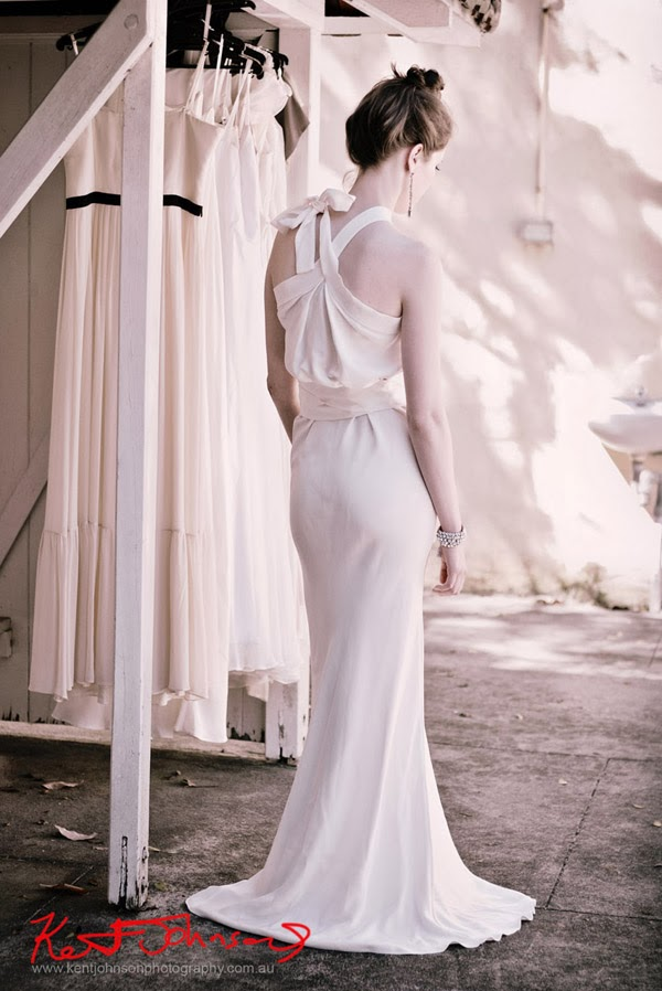 Full length white gown with back details, editorial style, Bridal and Wedding dress photography by Kent Johnson.