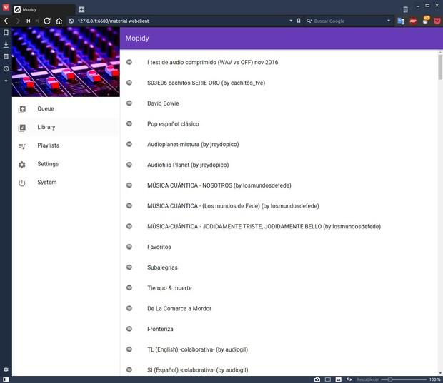 Spotify, Tidal, Google Music (y más) en bitperfect en Linux y OS X Mopidy_899