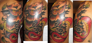 owl and snakes traditional tattoo