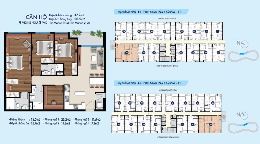 Mặt bằng căn 4PN-3WC-117m2 toà The Marina tầng 6-11 căn hộ River City quận 7 HCM