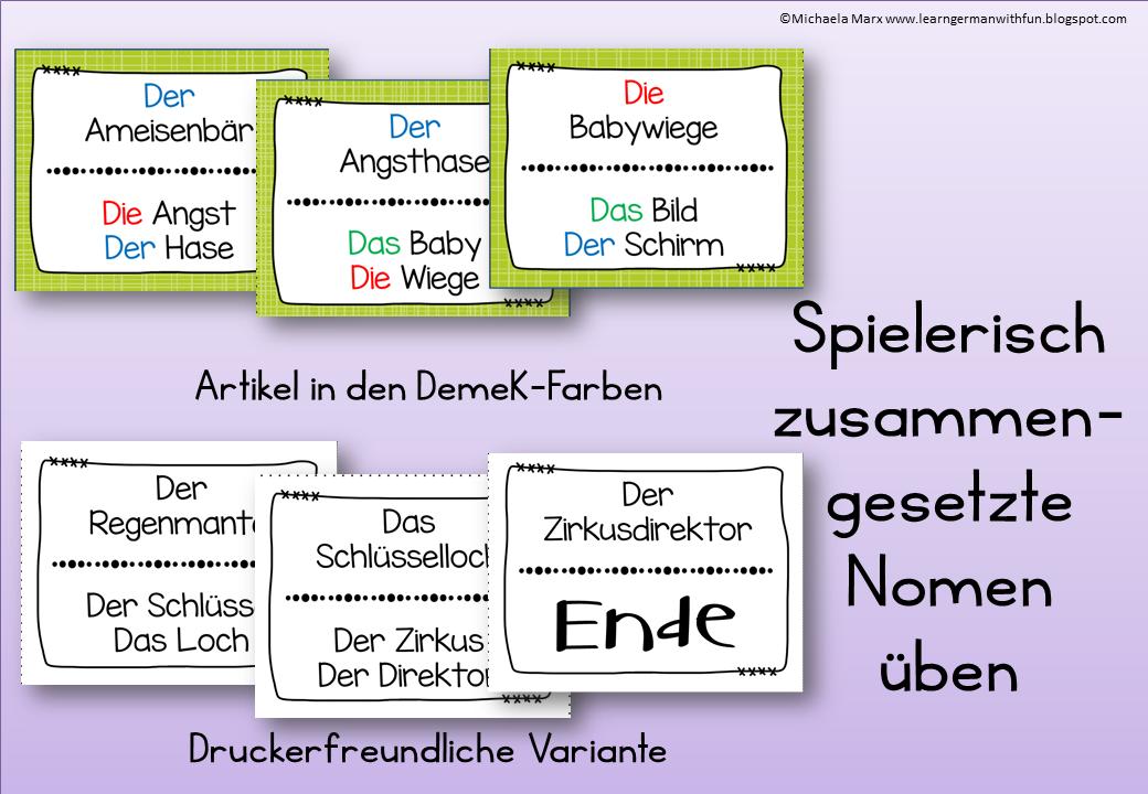 learn german with fun lesespiel zusammengesetzte namenw rter. Black Bedroom Furniture Sets. Home Design Ideas
