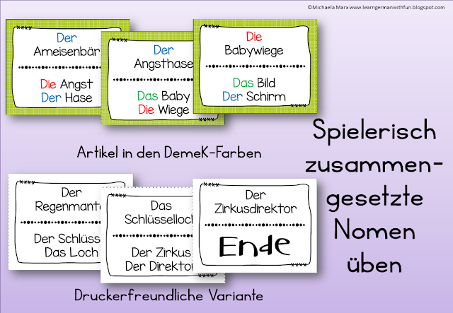Tolles Lesespiel für Grundschule, DaF, Legasthenietraining uvw. Dieses Lesespiel behandelt zusammengesetzte Nomen.