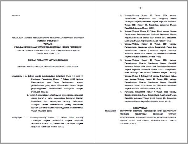 Permendikbud Nomor 3 Tahun 2018 Tentang Pelimpahan Sebagian Urusan Pemerintahan Bidang Pendidikan Kepada Gubernur Dalam Penyelenggaraan Dekonsentrasi Tahun Anggaran 2018