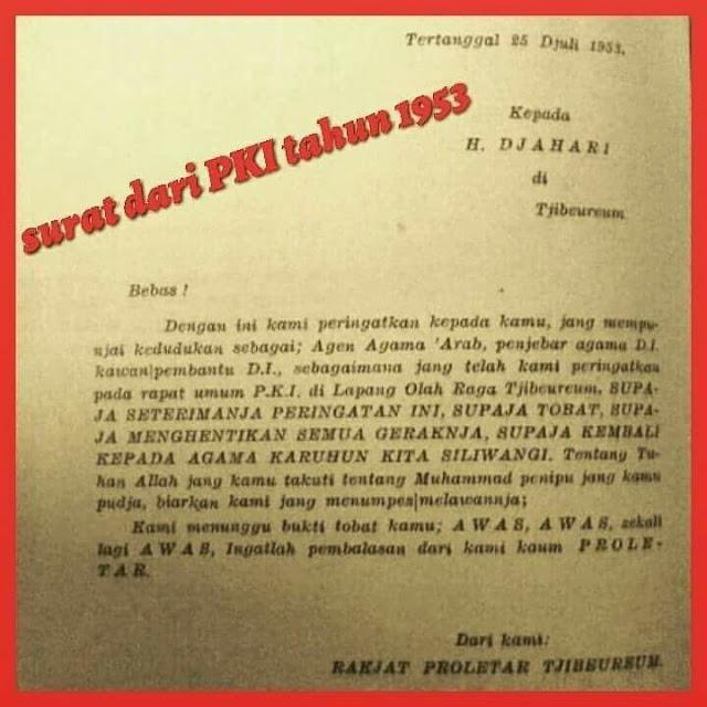 Fakta Sejarah! Surat Ancaman PKI Akan Menumpas Umat Islam yang Masih Menuhankan Allah