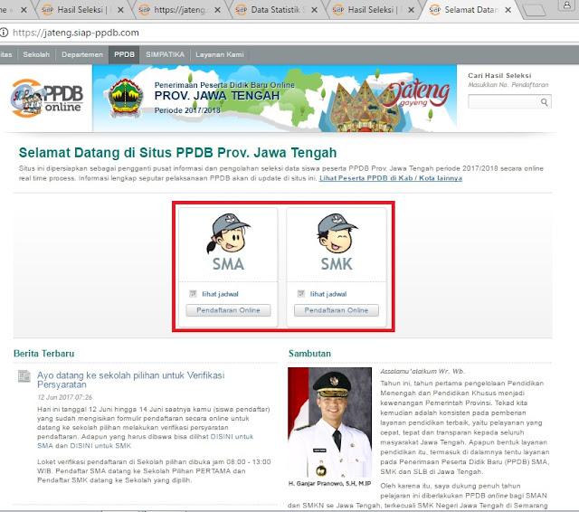 Tata Cara Melihat Hasil Seleksi PPDB Online Provinsi Jawa Tengah