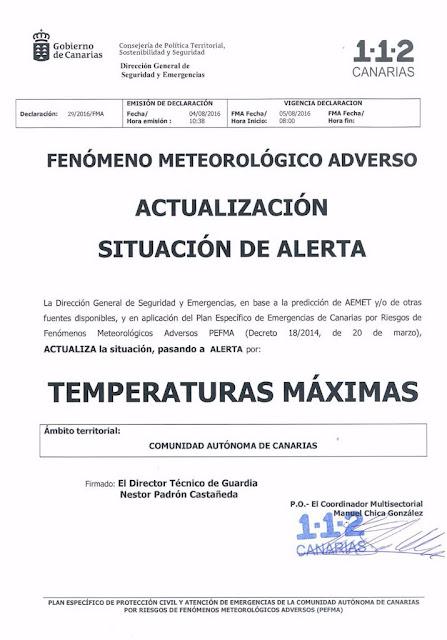 El Gobierno de Canarias activa alerta en las isla por temperaturas máximas para mañana viernes, 5 de agosto