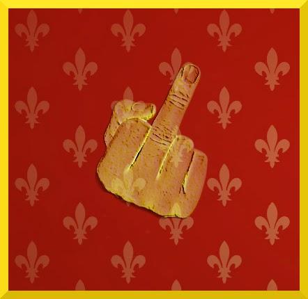 Illusztráció vershez, Anjouk és Lannisterek címerén alapuló lovagi lobogó, egy kéz középső ujját kinyújtva intelmet fogalmaz meg Villon szellemében.