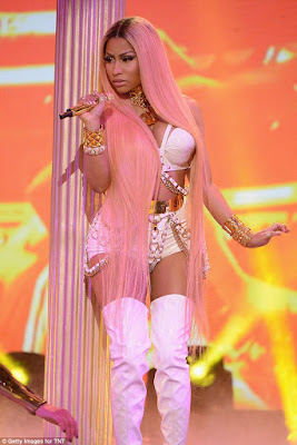 d996c0a289b9 Rapper Nicki Minaj put her curvaceous body on display as she performed on  stage at the first ever 2017 NBA Awards which took place in New York City  on ...