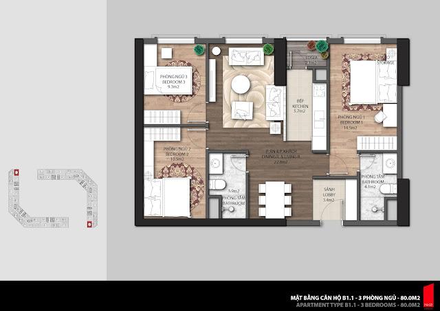 Thiết kế căn B1.1 - 80,0m2 chung cư The Emerald