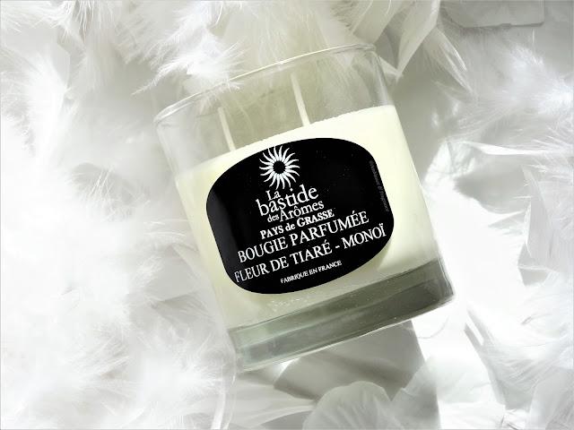 avis Fleur de Tiaré-Monoï de La Bastide des Arômes, bougie monoi, bougie fleur de tiare, blog parfum, blog bougie