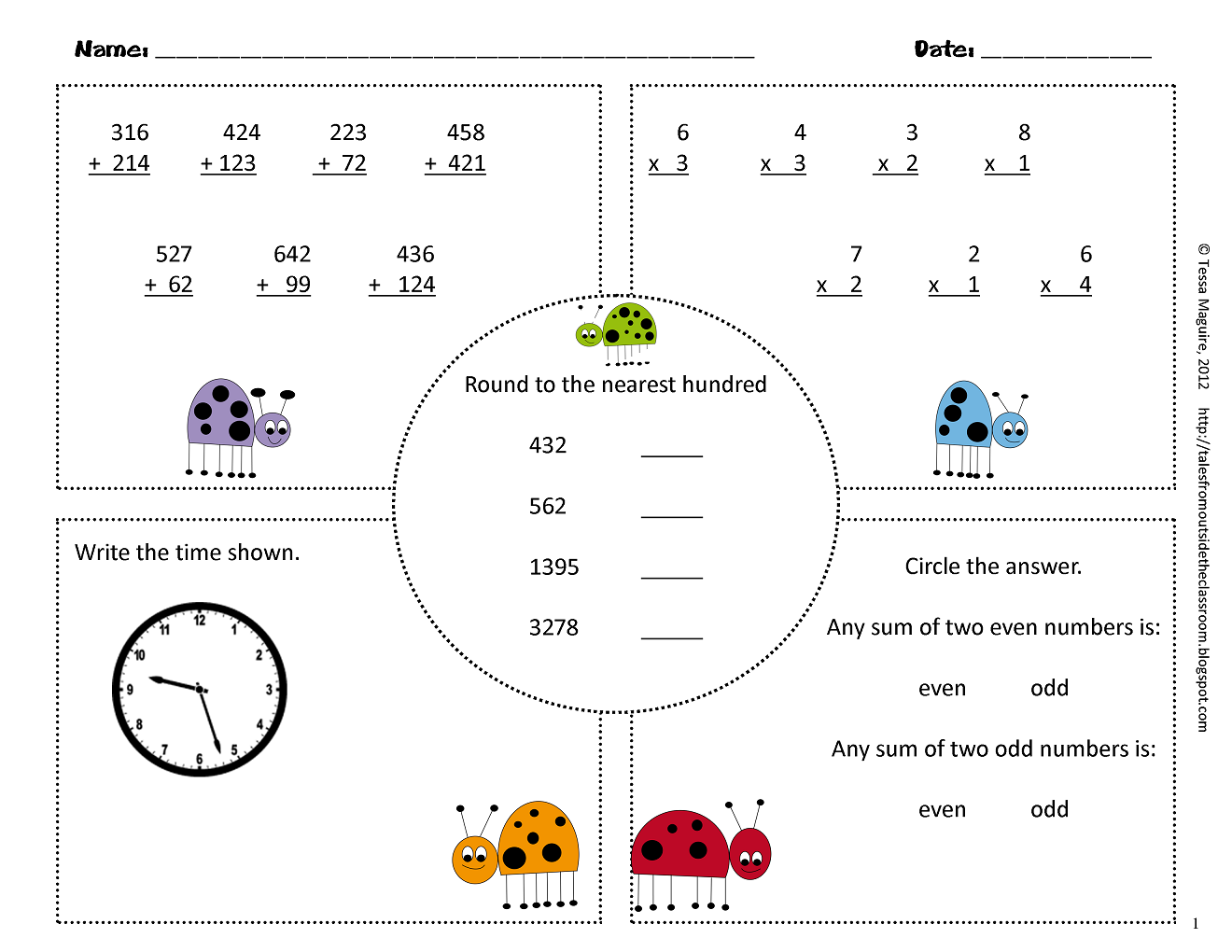 3rd grade Common Core Math Warm Ups - Classroom Freebies