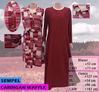 Cardigan bahan waffle model terbaru tanpa lengan dan panjang