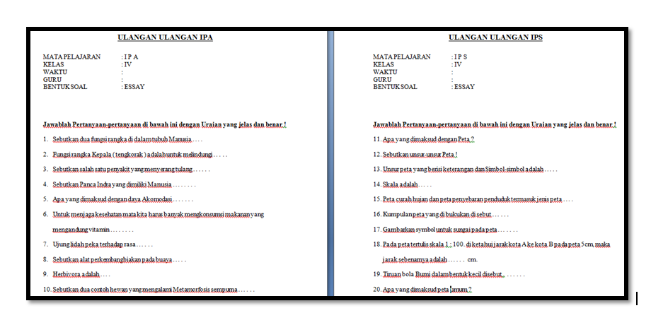 Soal  IPA IPS Kelas 4 Kurikulum 2013