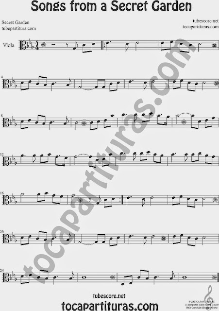 Songs from a Secret Garden Partitura de Viola Sheet Music for Viola Music Score