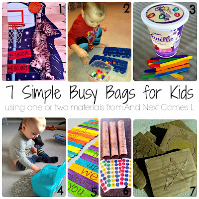 7 simple busy bag ideas for kids that use one or two materials from And Next Comes L