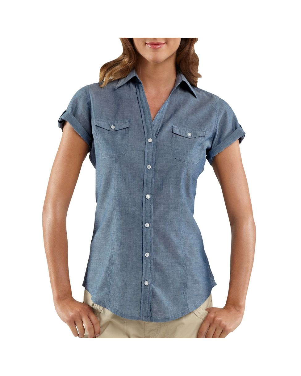 Find a Buttoned Chambray Shirt for Women or Lacy Chambray Shirt for Women, at Macy's. Chambray Shirt Women. These long sleeve shirts have a clean line that pairs wonderfully with brightly colored chinos or khaki capris. These shirts also have a slightly nautical feel that gives them an extra dose of charm.