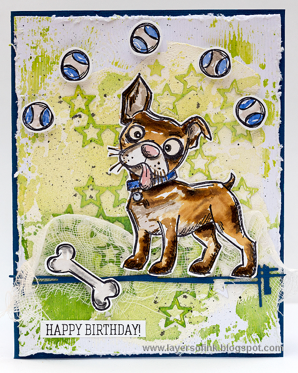 Layers of ink - Crazy Dog Card by Anna-Karin