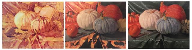 pumpkin squash still life painting by sarah sedwick