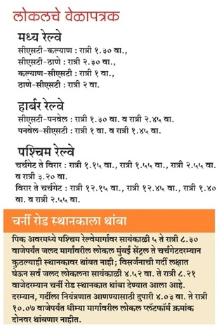 Mumbai Local Timings 15 September 2016