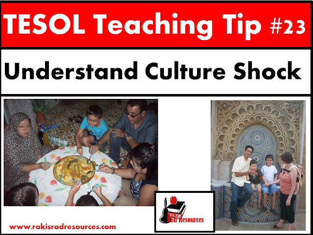 TESOL Teaching Tip #23 - Understand culture shock by experiencing it. Our esl or ell students often experience culture shock when they come into our classrooms. It's hard to really understand what they've been through if you've never had culture shock yourself. You don't need to travel overseas to have culture shock. Check out this blog post at Raki's Rad Resources to find some suggestions on how to experience culture shock and build empathy for your students.