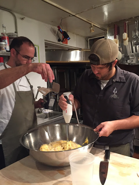 Brad Andries and Cody Carroll prep for their dinner at the James Beard House