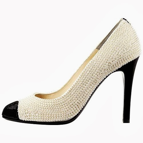 Chanel two-tone pearl heels