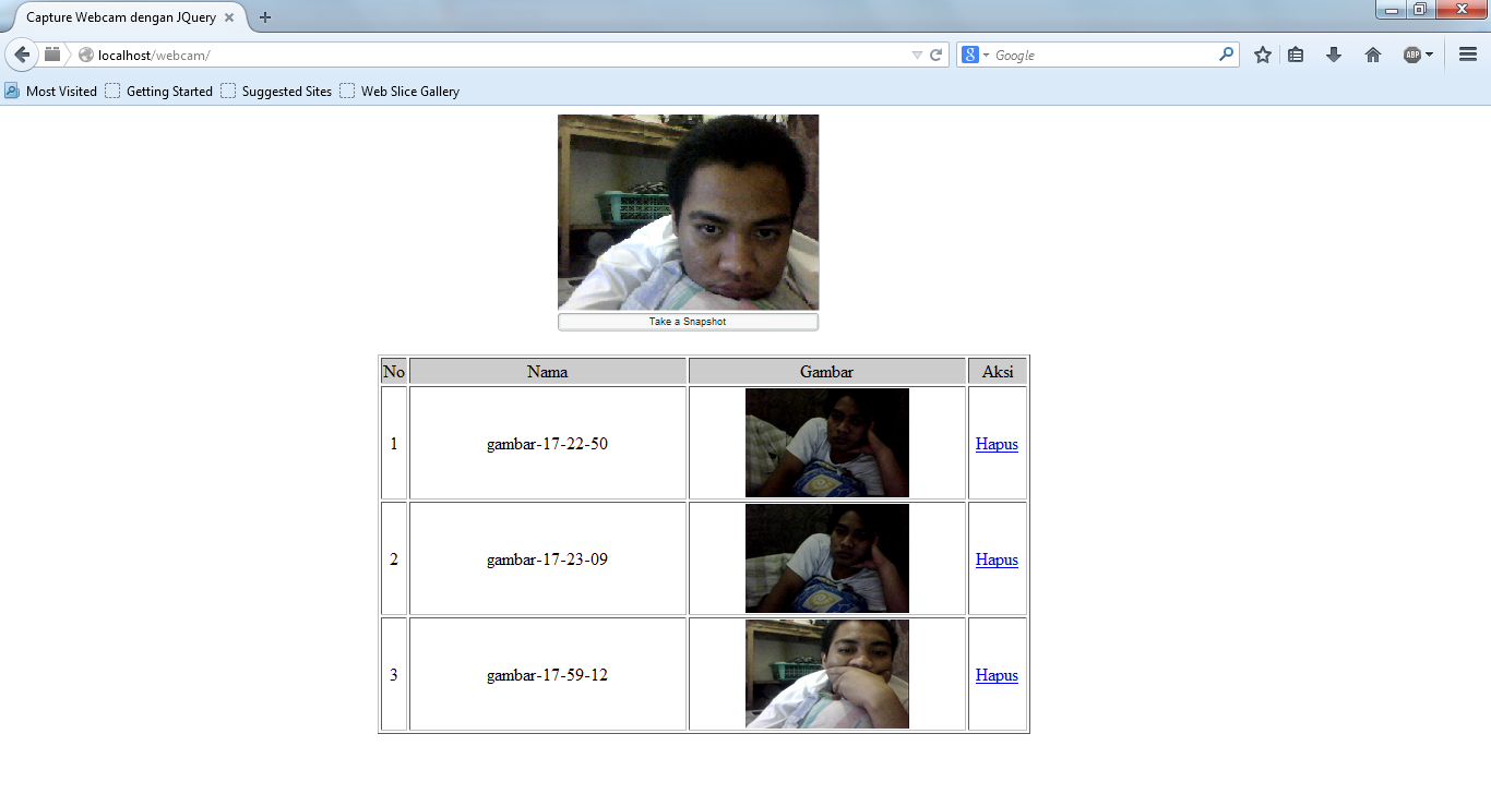 Source Code Capture Webcam dan Simpan ke Database dengan JQuery