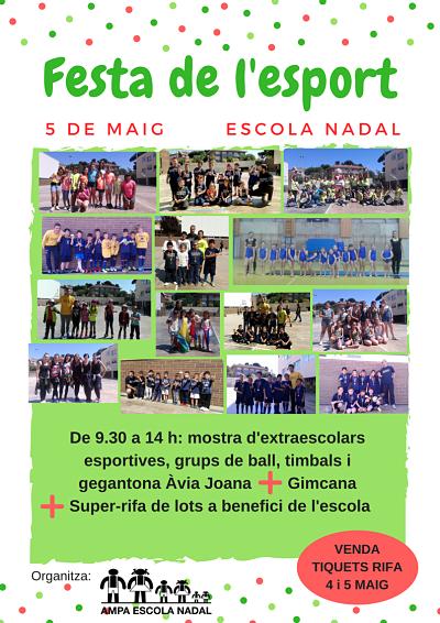 Imatge de la Festa de l'esport de l'AMPA Nadal que es fa el 5 de maig de 2018