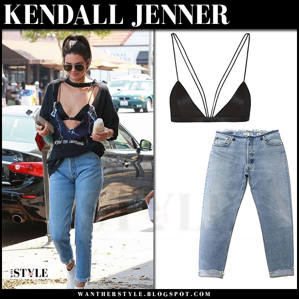 Kendall Jenner in black satin bra are you am i nyx, relaxed jeans and white ankle boots the row ambra what she wore