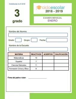 Examen Mensual Tercer grado 2018-2019