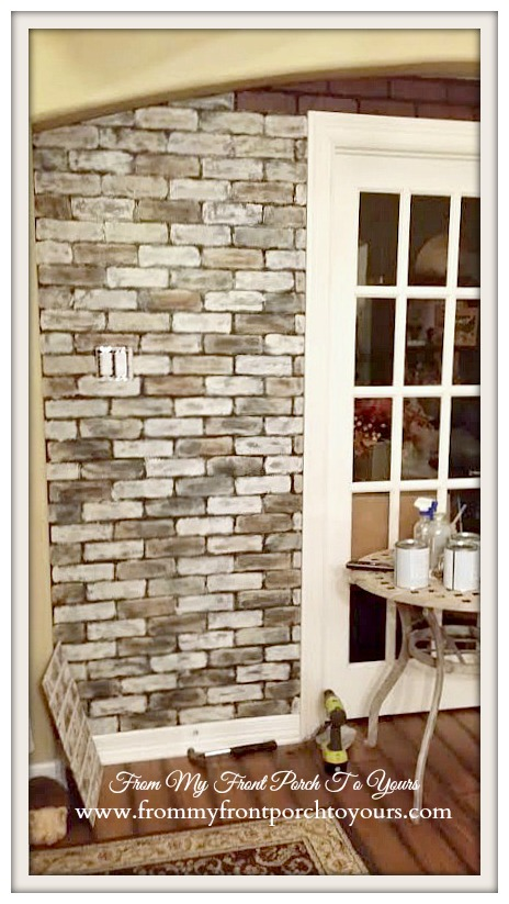 from my front porch to yours diy faux brick wall tutorial using chalk paint. Black Bedroom Furniture Sets. Home Design Ideas