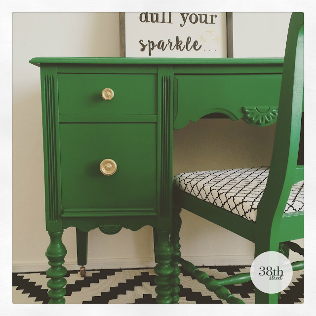 milk paint, general finishes, emerald green, painted desk, painted chair, before and after, diy, reupholstered chair, jenny lind